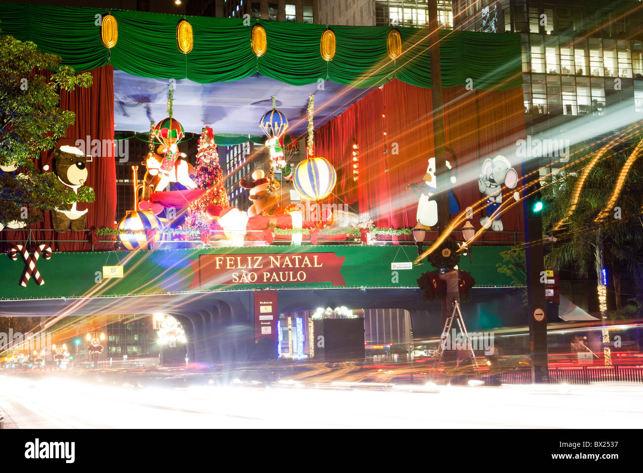 On stage Christmas decoration at night on Avenida (Avenue) Paulista in Sao Paulo, Brazil. Long exposure shoot Stock Photo