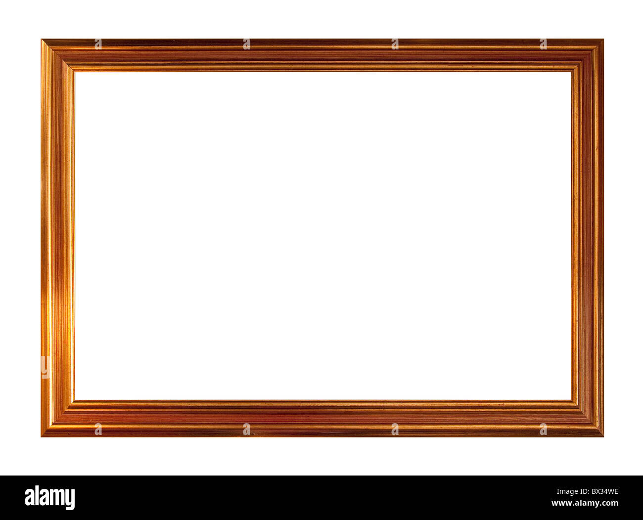 Gold picture frame, isolated on white - Stock Image