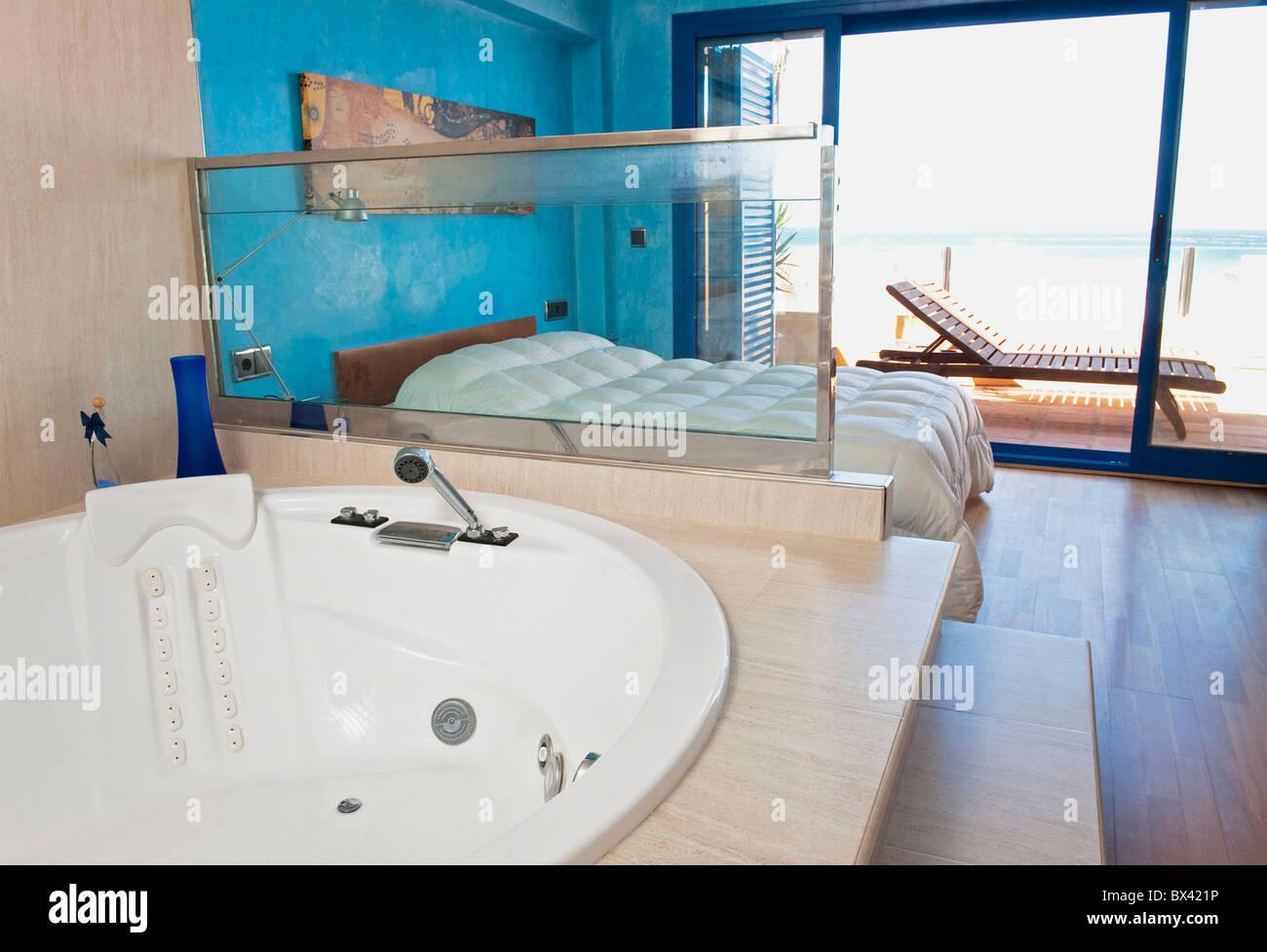 A Hotel Room Off Los Lances Beach With A Large Soaker Tub; Tarifa ...