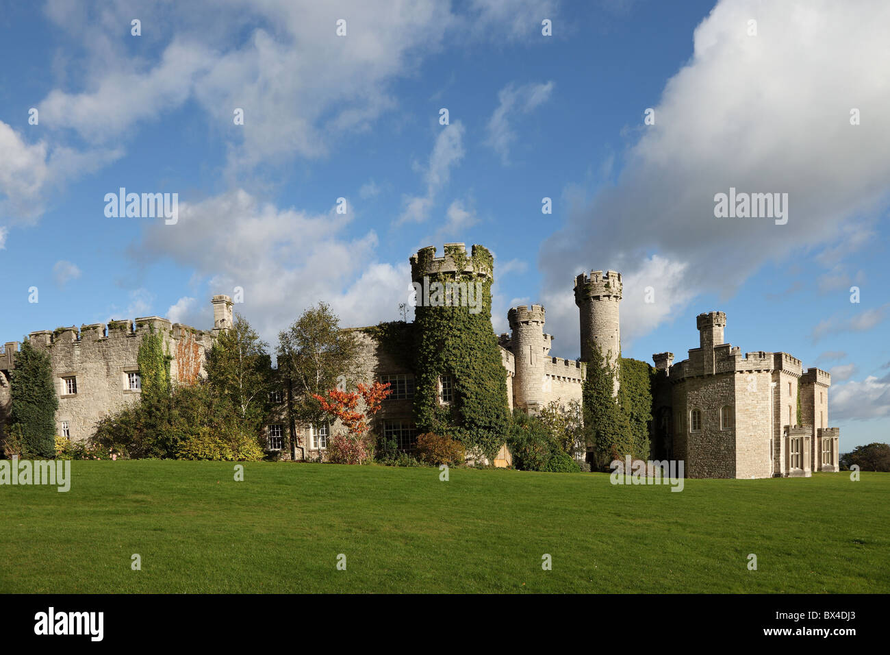View South East corner Bodelwyddan Castle near Bodelwyddan Denbighshire North Wales Stock Photo