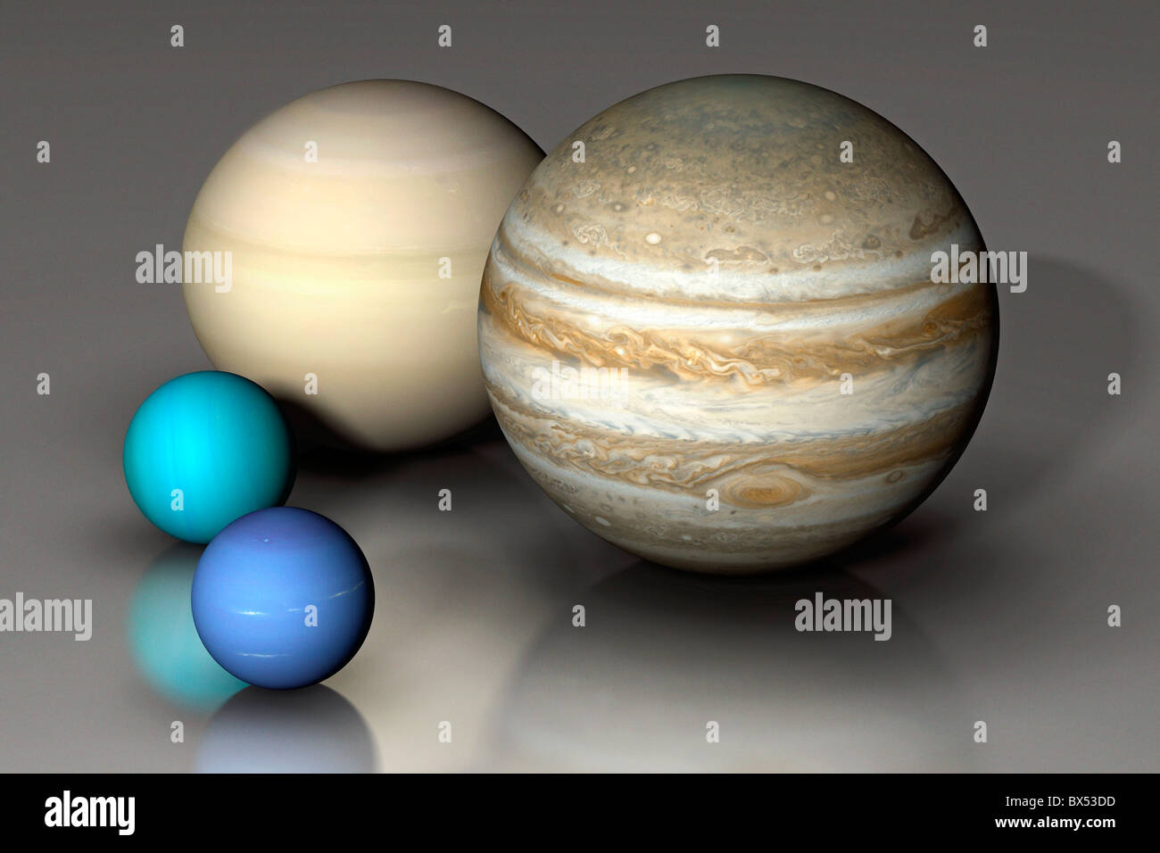 Giant Planets Compared - Stock Image