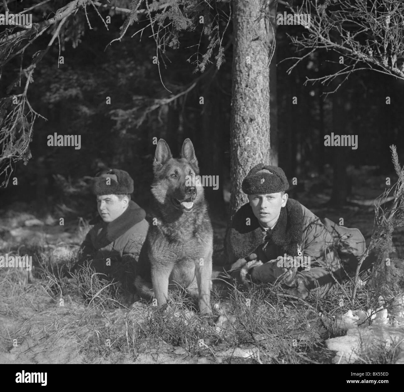 Border Patrol, CSSR, German shephard, Iron Curtain Stock Photo