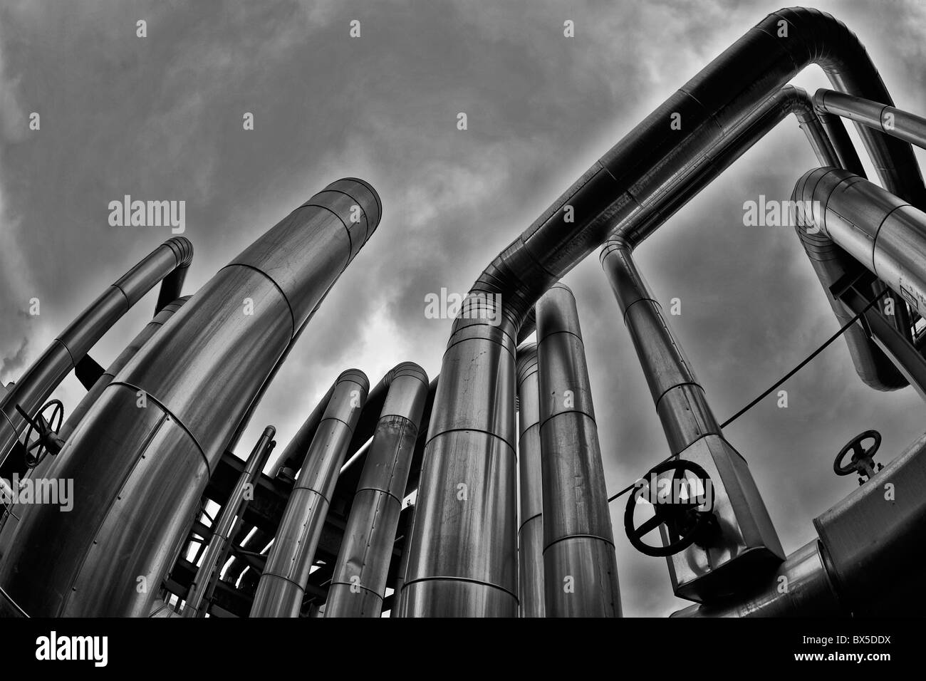 Taken in a geothermal installation Image taken in colour and passed to b&w - Stock Image