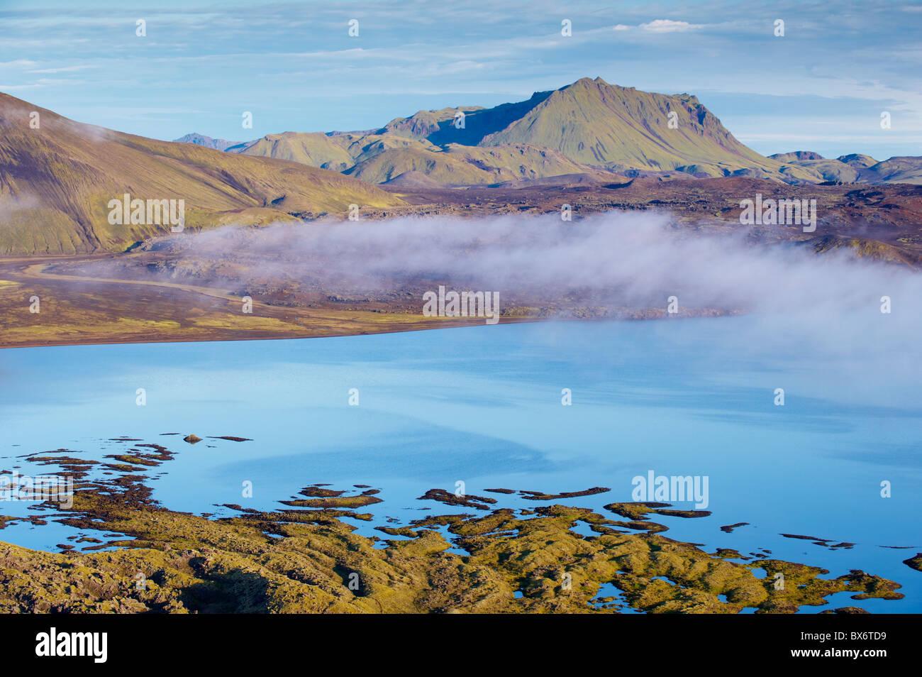 Lava flows in lake Frostadavatn, Landmannalaugar area, Fjallabak region, Iceland, Polar Regions - Stock Image