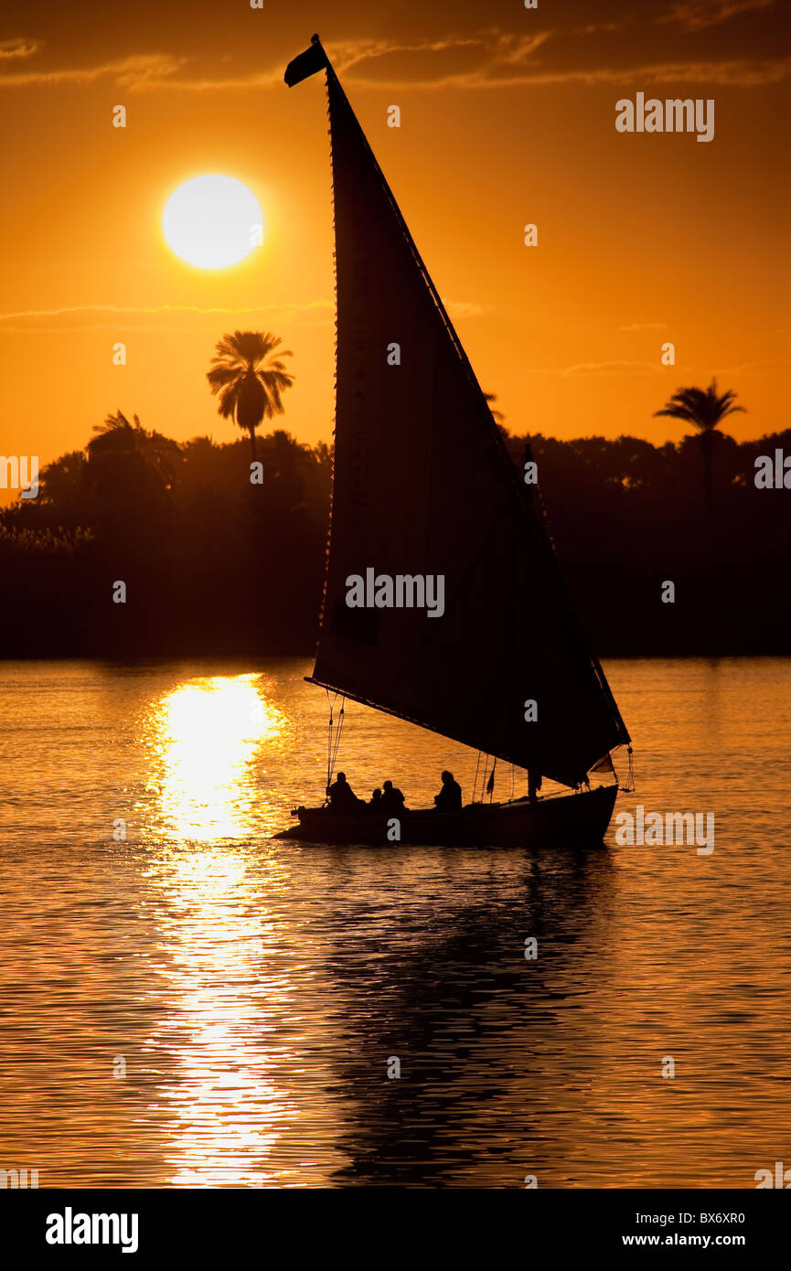 A stunning and beautiful image of a traditional Egyptian sail boat called a felucca on the Nile at sunset with palms - Stock Image