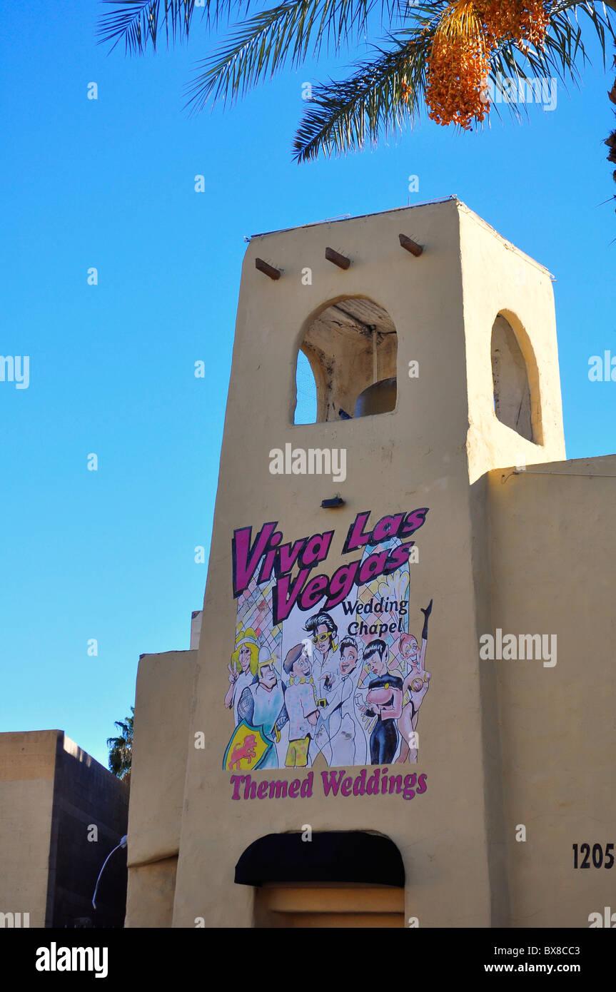 Viva Las Vegas Themed Wedding Chapel Las Vegas Nevada Usa Stock