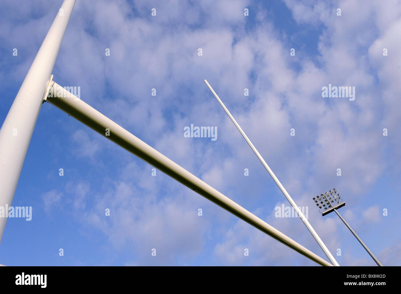 Rugby goalpost on blue sky - Stock Image
