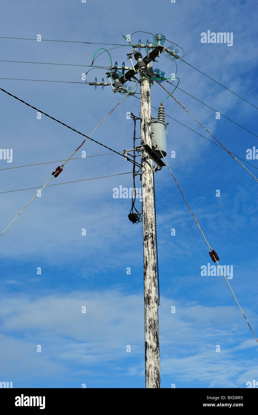 Electricity Post, Errisbeg West, County Galway, Connacht, Republic of Ireland - Stock Image