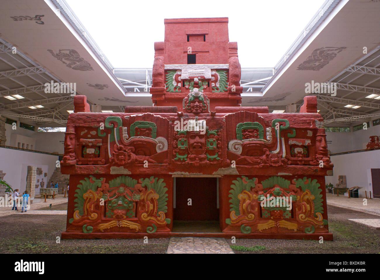 Replica of the Rosalila temple in the Copan Sculpture Museum at the Mayan ruins of Copan, Honduras Stock Photo