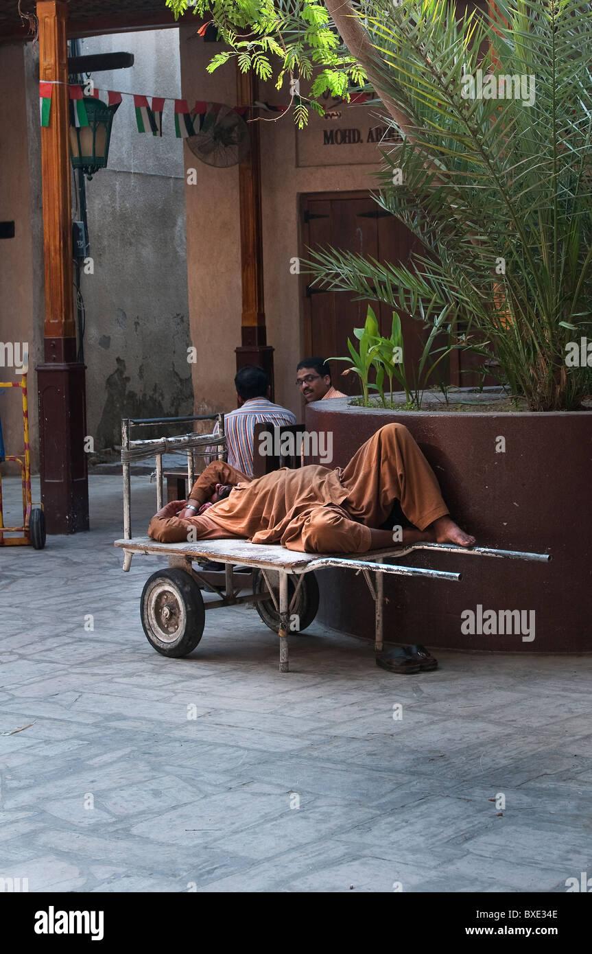 porter workers sleeping in Dubai - Stock Image