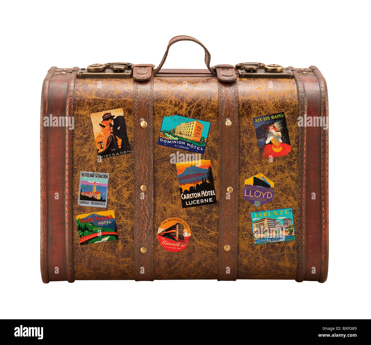 old suitcase travel stickers isolated on a white background stock