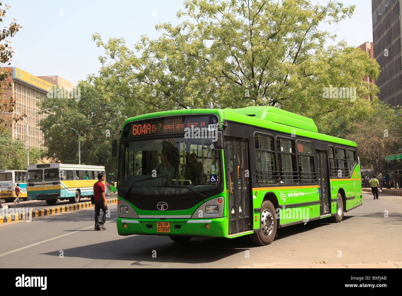 New environmentally friendly public buses in New Delhi India. The low-floor buses run on compressed natural gas - Stock Image