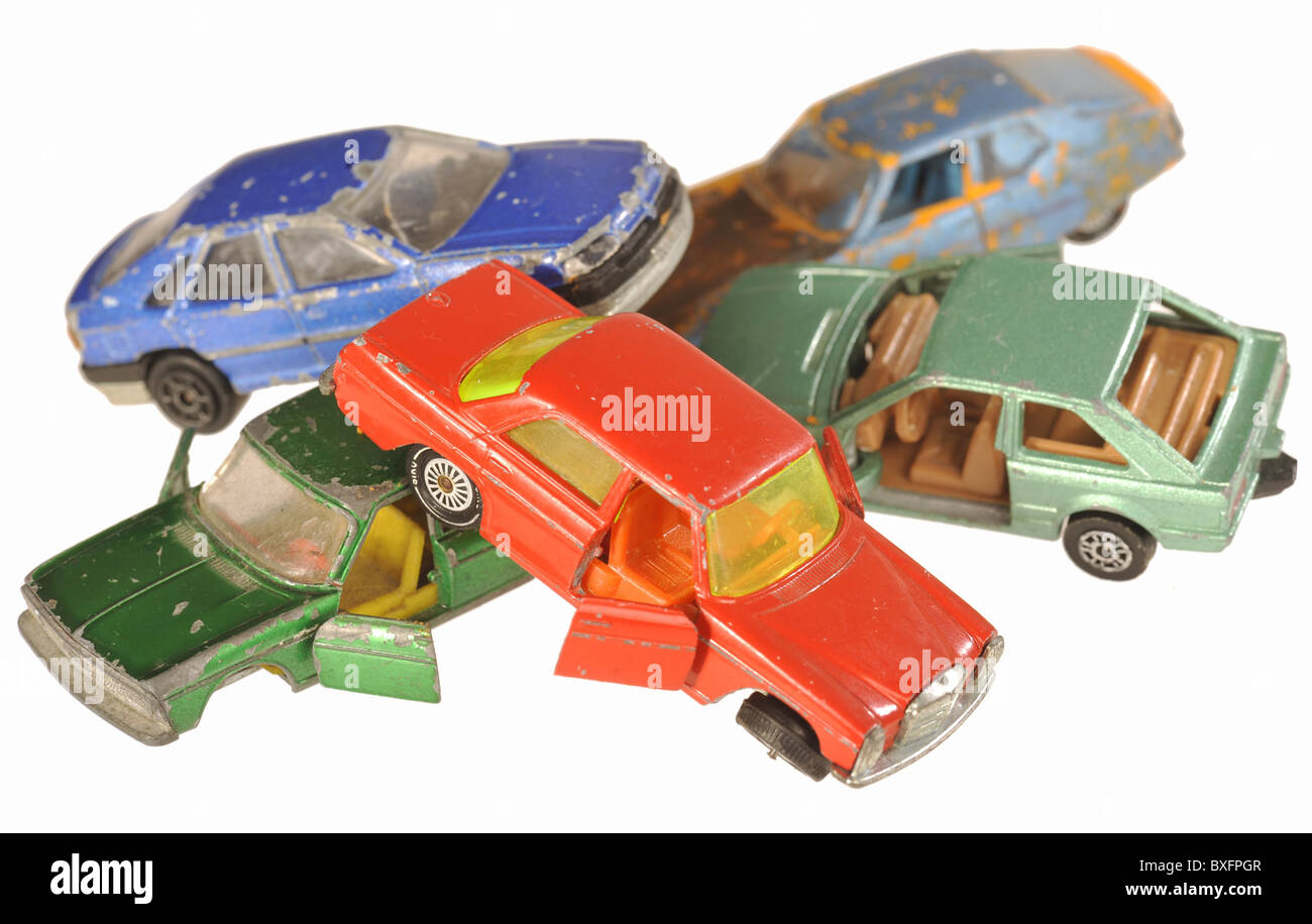toys, toy car, scrap yard with cars, Germany, symbol image, 21th ...