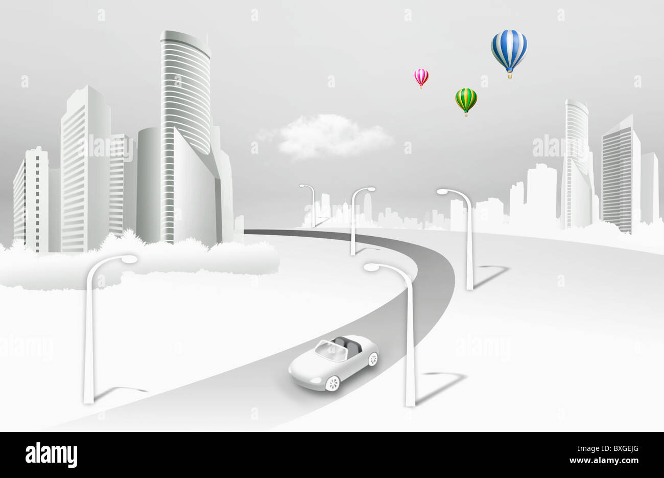 urban scenery in illustration - Stock Image