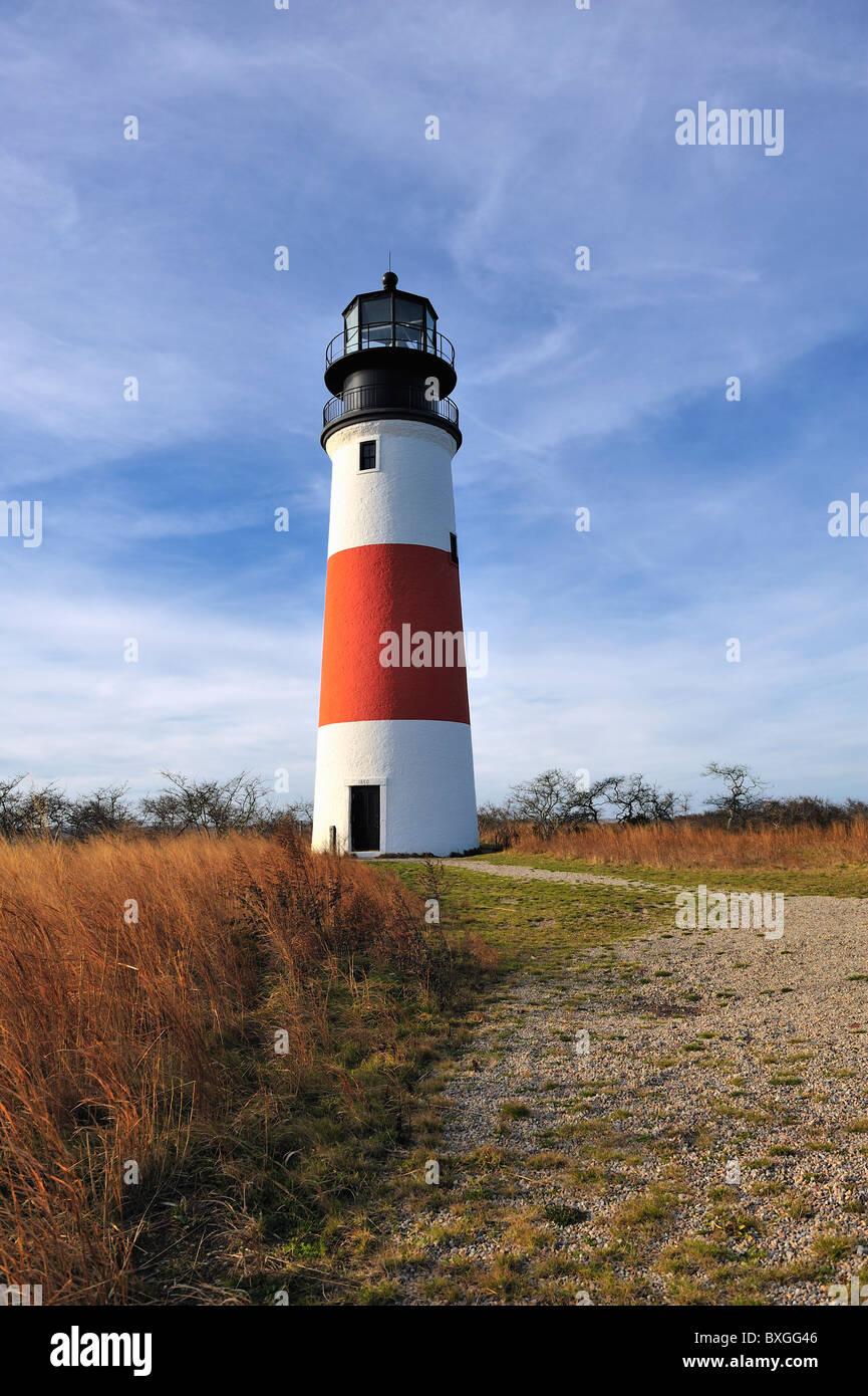 Sankaty Head Light Lighthouse Nantucket, Massachusetts, USA with moor grasses fall autumn color colour Stock Photo