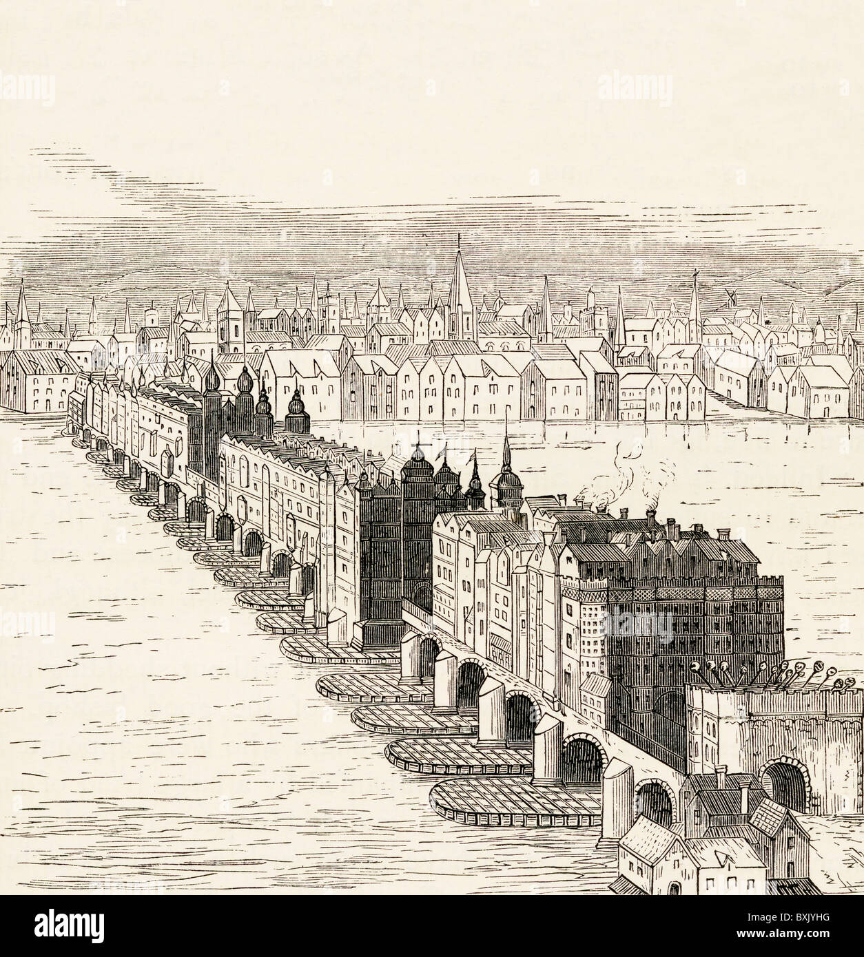 Old London Bridge, London, England before the Great Fire of 1666.