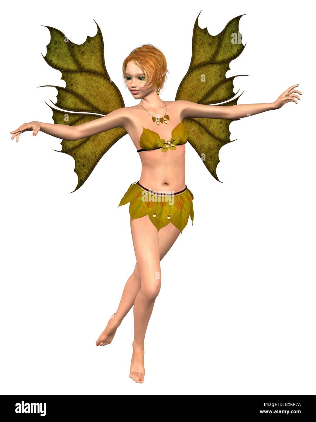 Autumn Leaf Fairy - dancing - Stock Image