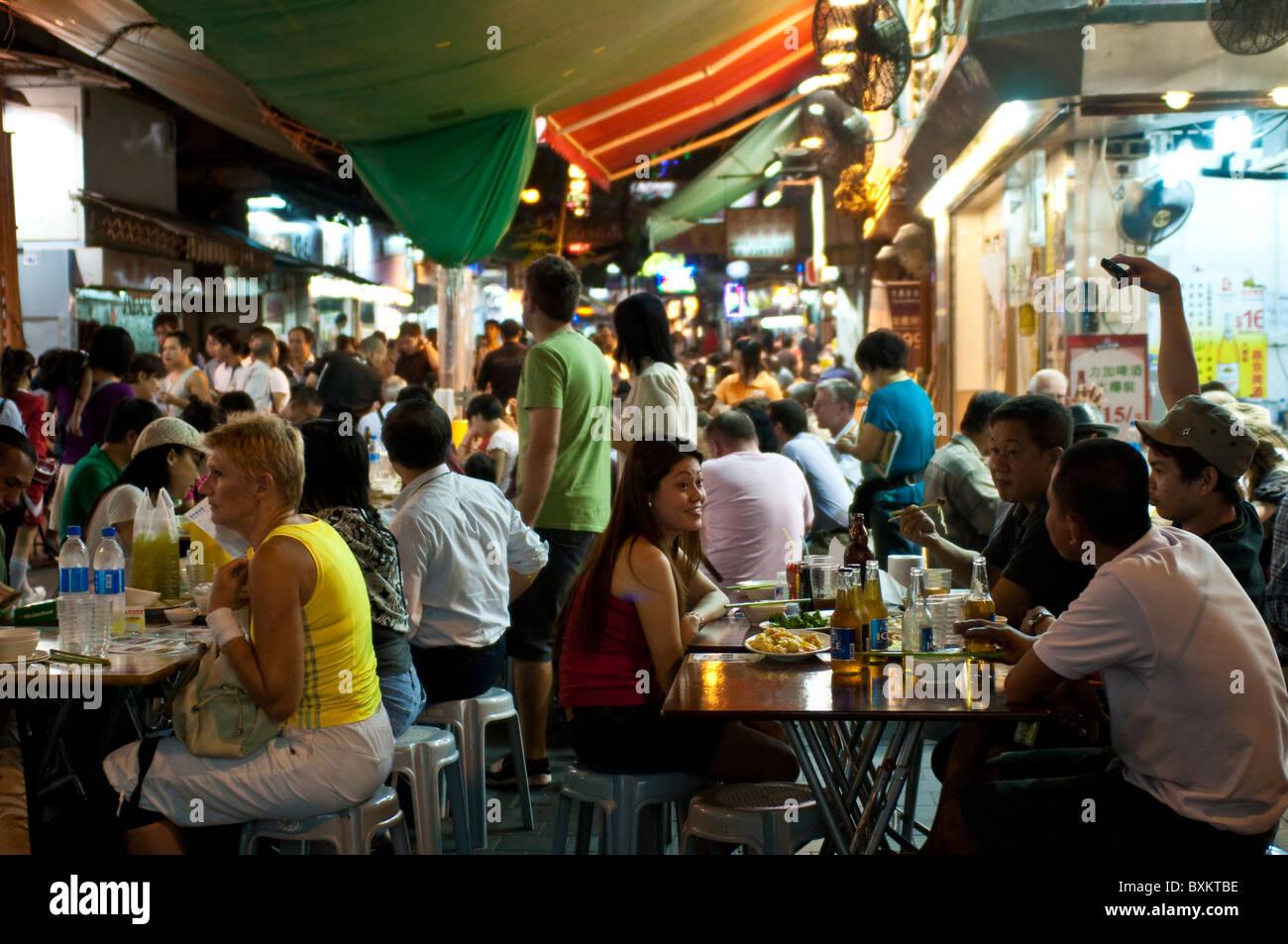 Street restaurants, Yau Ma Tei, Kowloon, Hong Kong, China Stock Photo