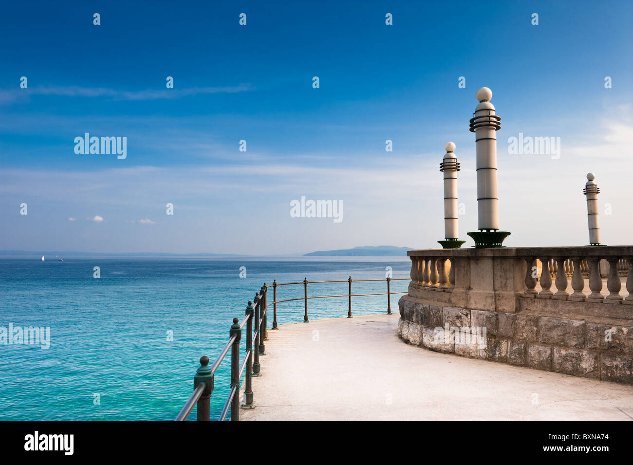 Adriatic Sea scenic view from quay of Opatija. Popular touristic destination  Croatian coast. - Stock Image
