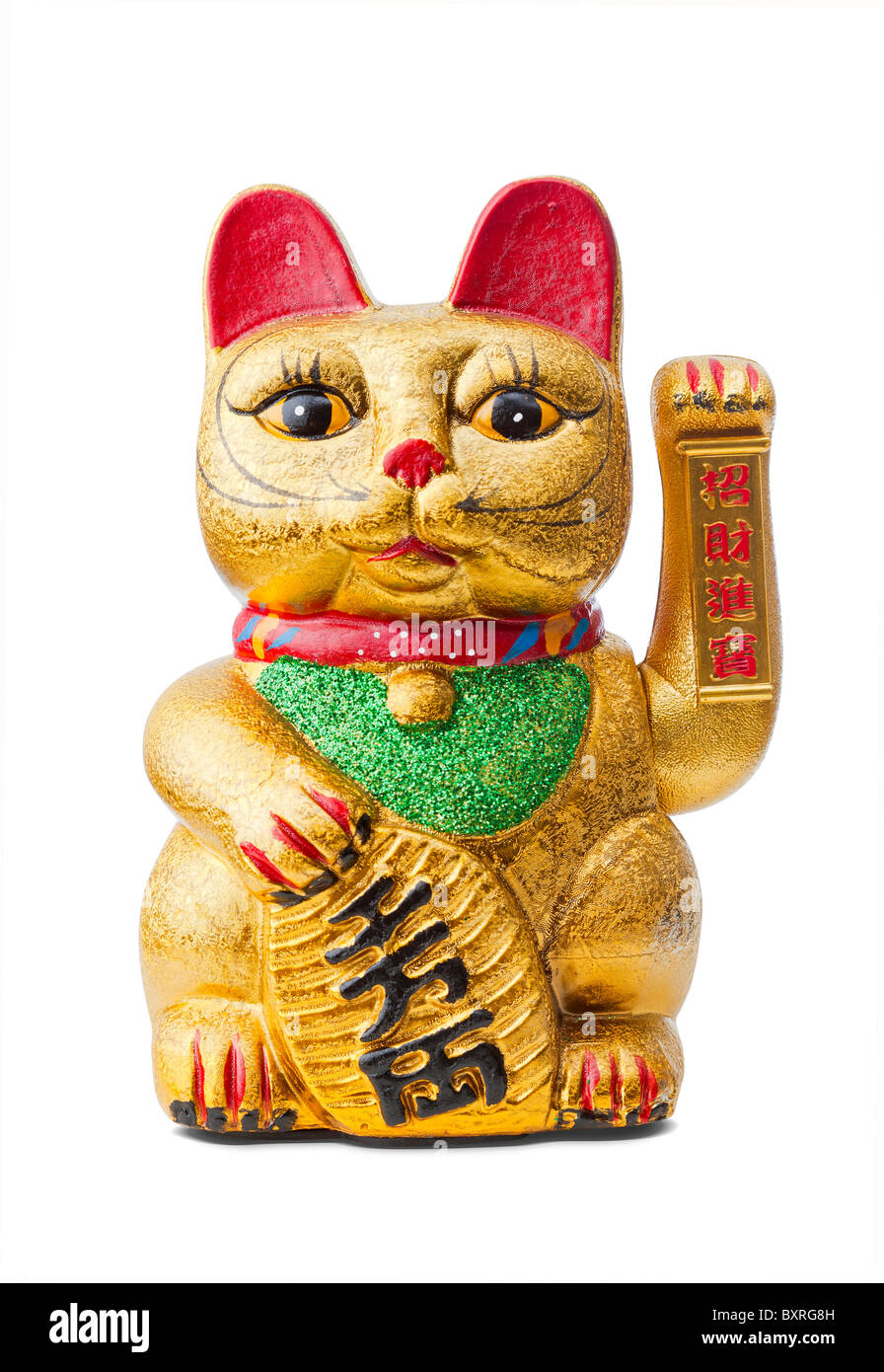 Maneki Neko the beckoning lucky cat isolated Stock Photo
