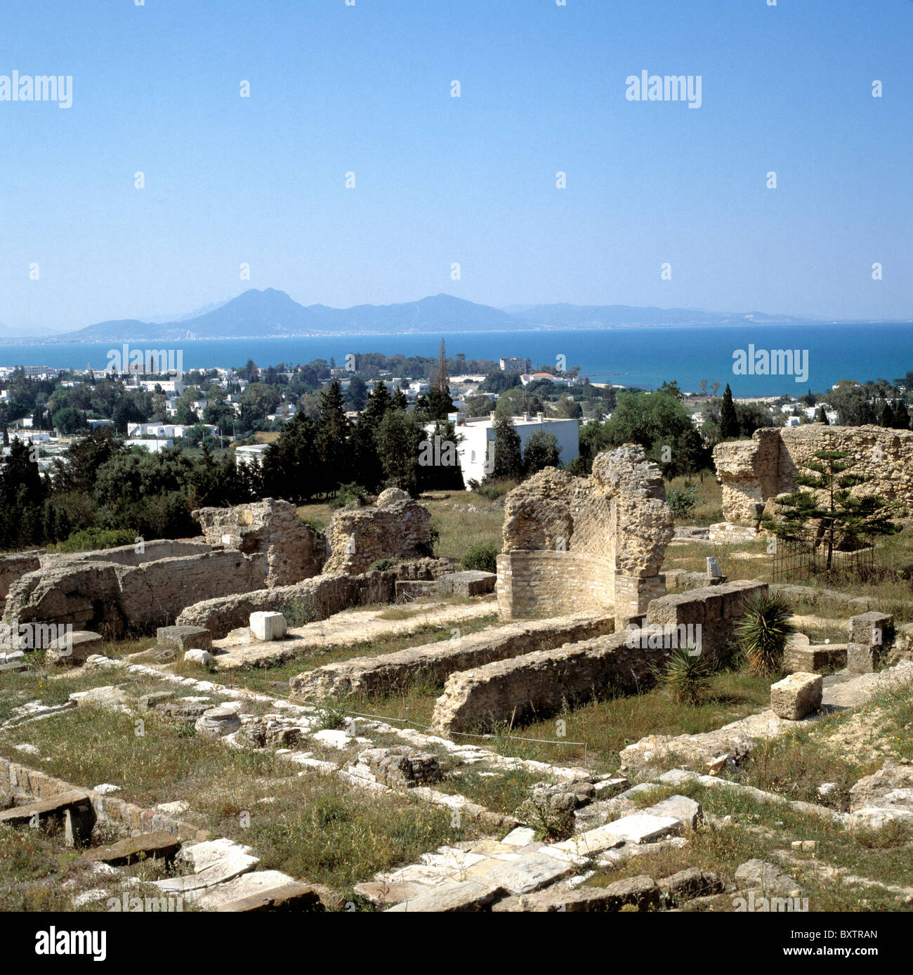 Overview of ruins of Carthage, Tunisia, with Mediterranean in background Stock Photo