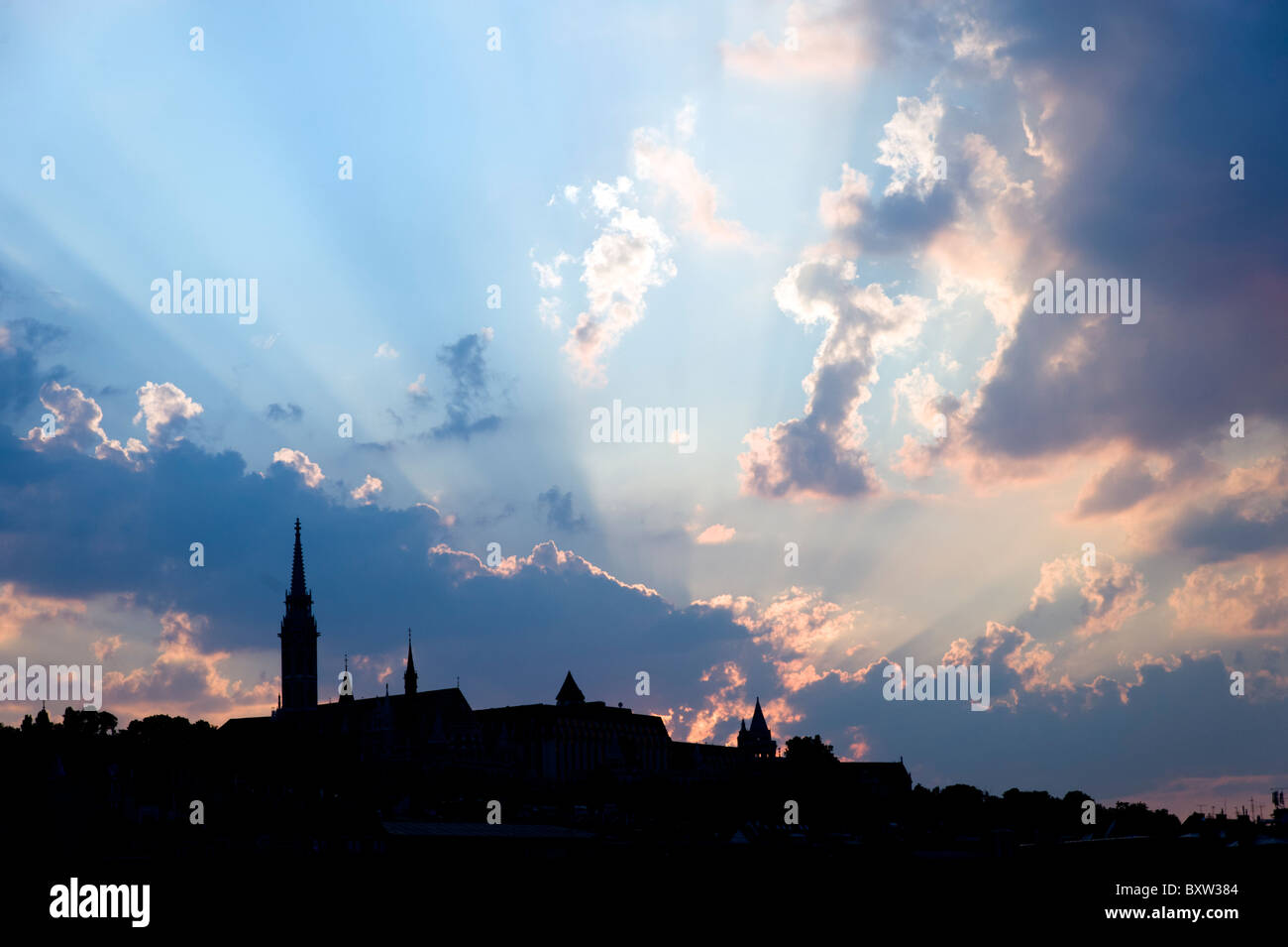 Silhouette of Budapest city skyline with dramatic sky, Hungary - Stock Image
