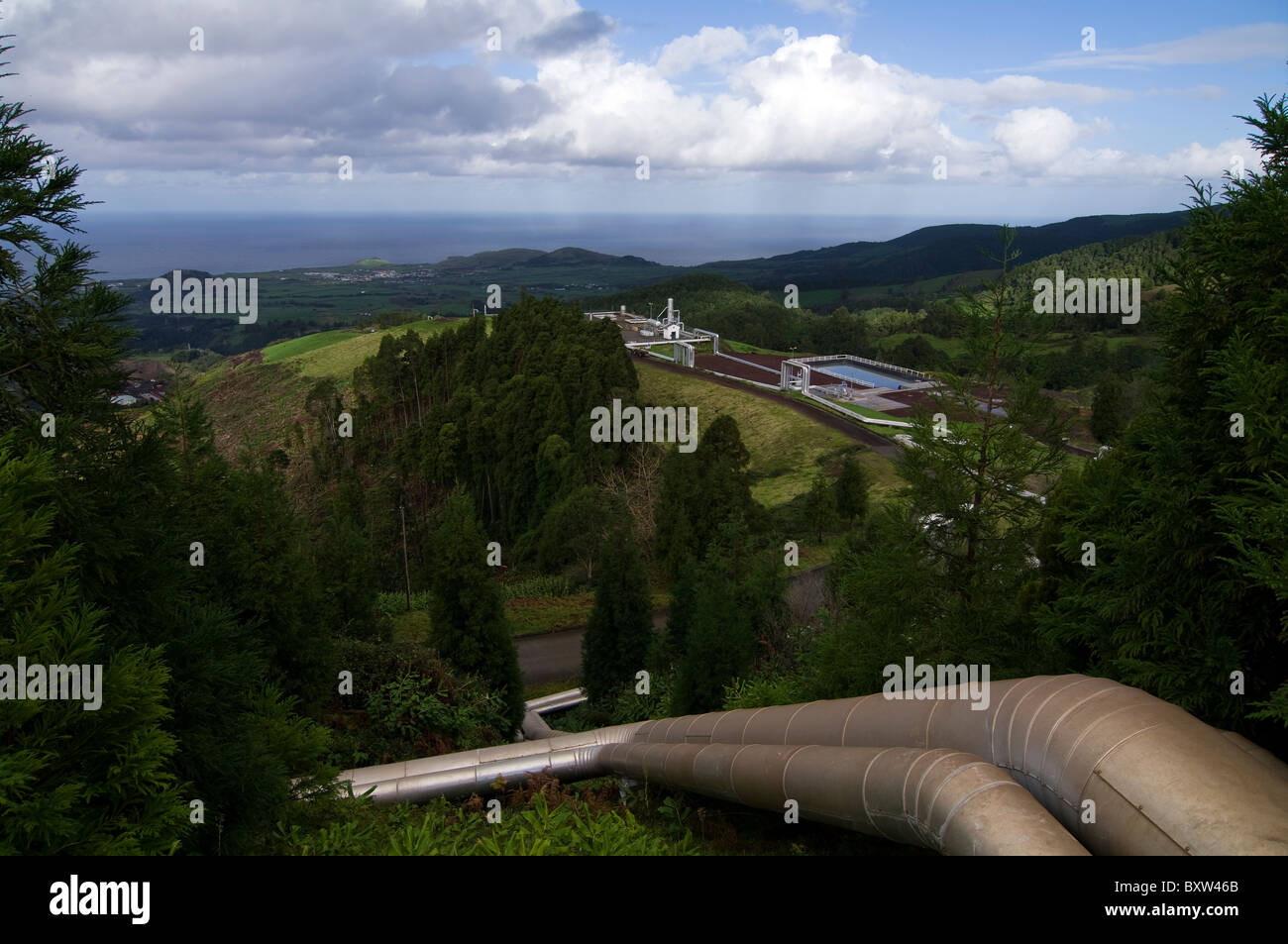 Geothermal power plant installation in the Azores used to generate energy / electricity - Stock Image