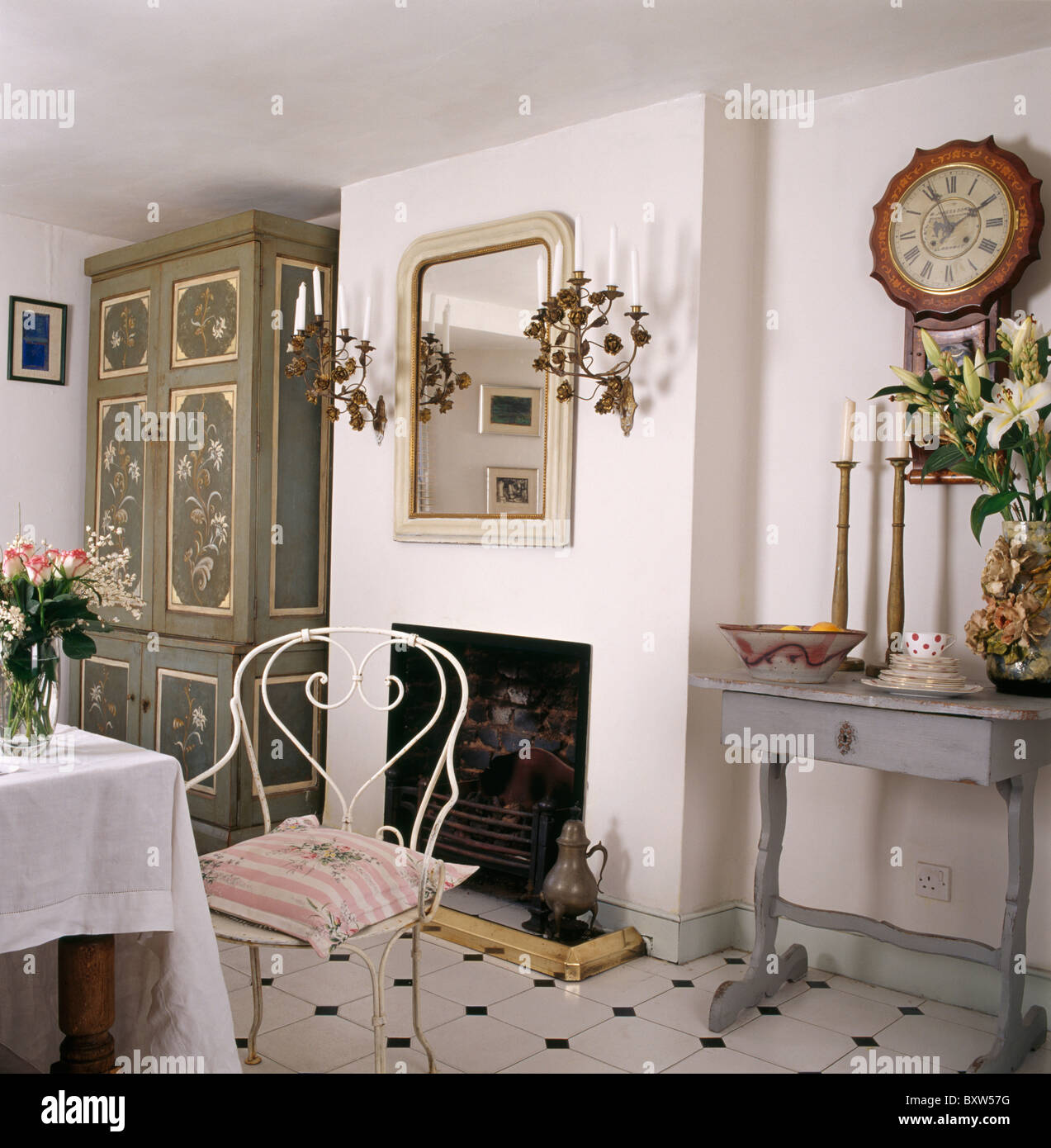 Fantastic Painted Cupboard In Corner Of Dining Room With White Metal Dailytribune Chair Design For Home Dailytribuneorg