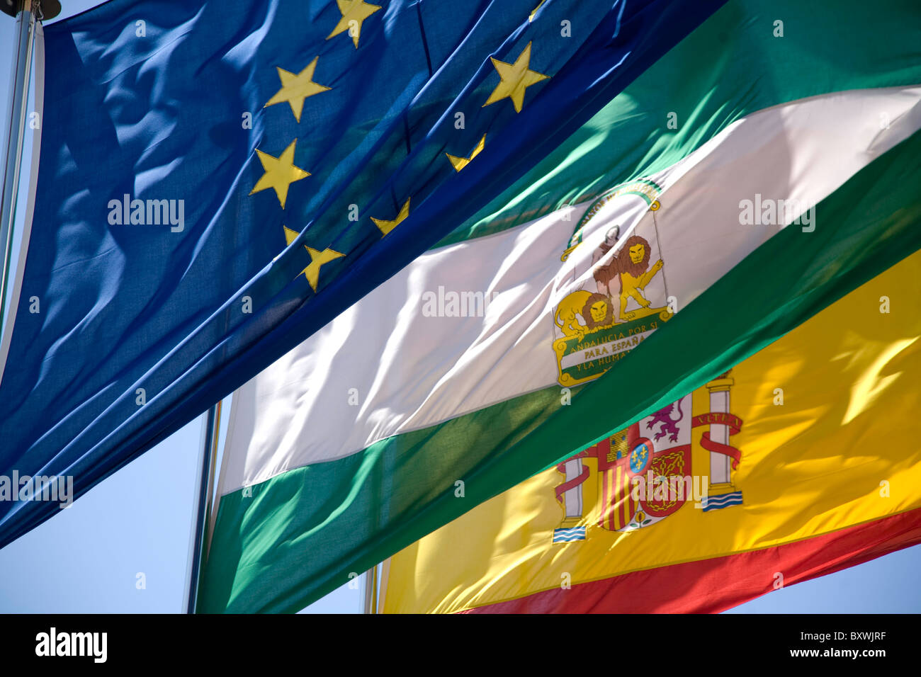 Flags in Granada, Spain. - Stock Image