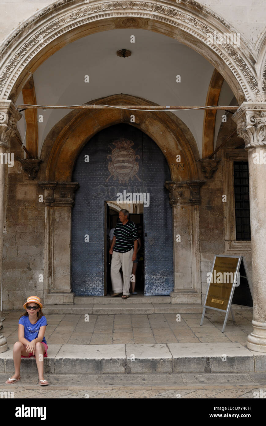 The entrance to the Sponza Palace. The Sponza Palace is originating from the 14th century, rebuilt 1516-1522. The - Stock Image