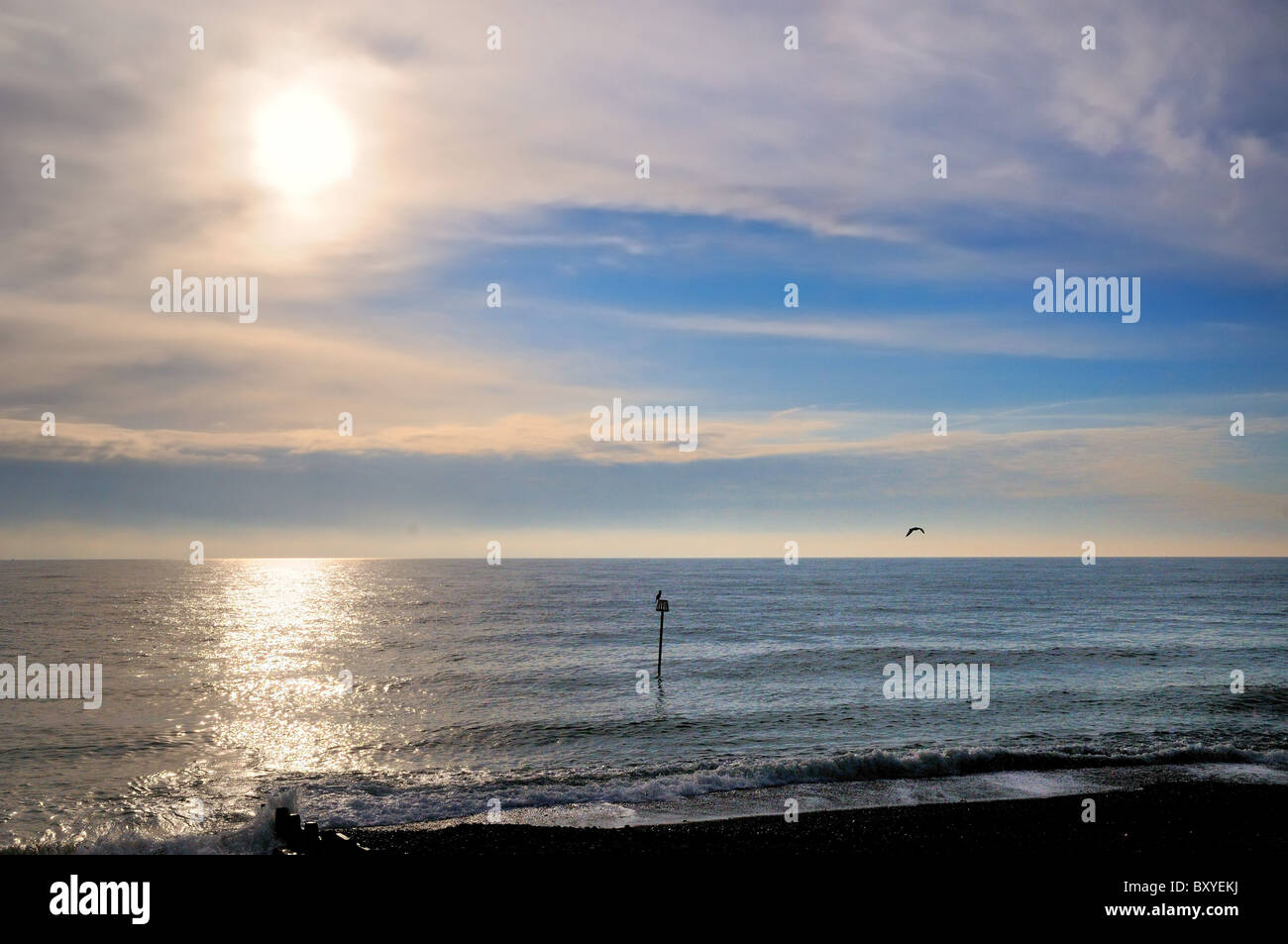 Sea skyline with horizon in winter sun Worthing Sussex England UK - Stock Image