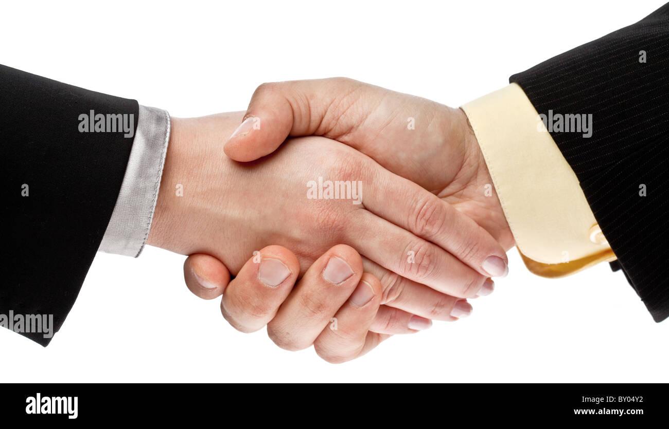 handshake isolated on white background - Stock Image