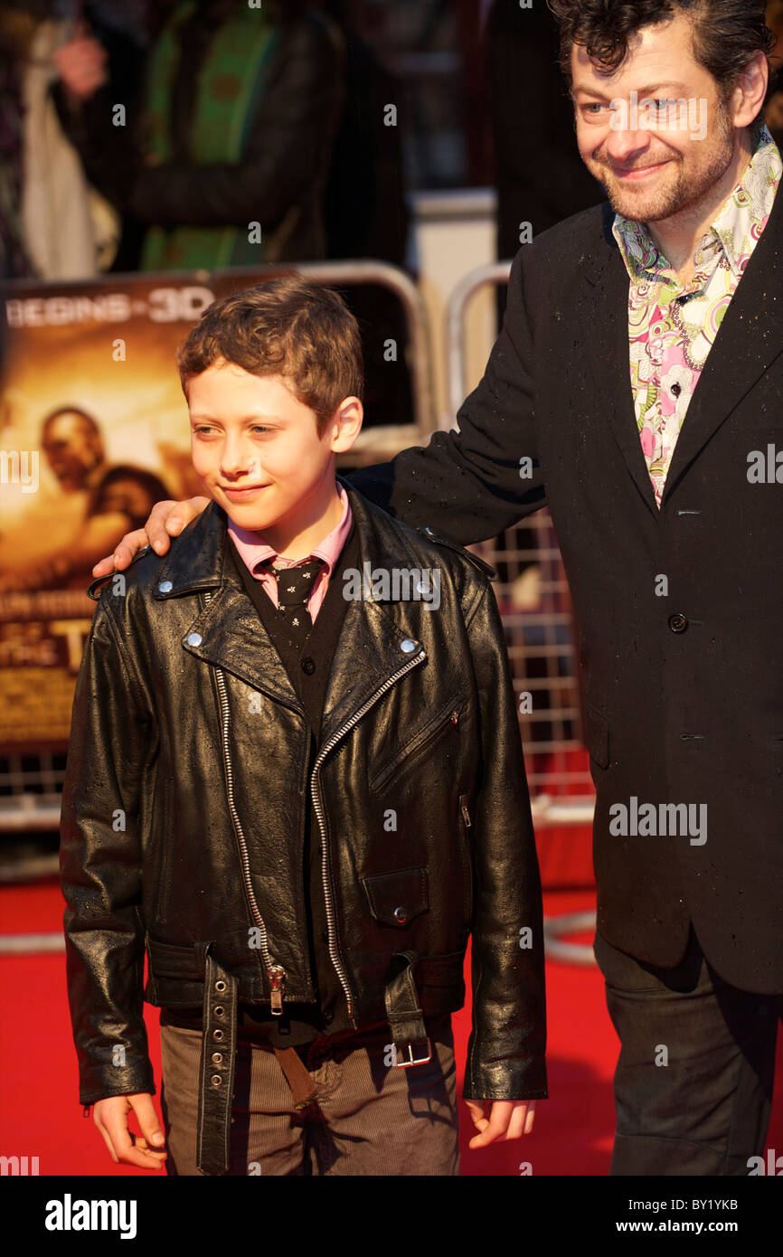 Actor Andy Serkis and son attend the world premiere of 'The Clash of the Titans,' a remake of the 1981 film, - Stock Image