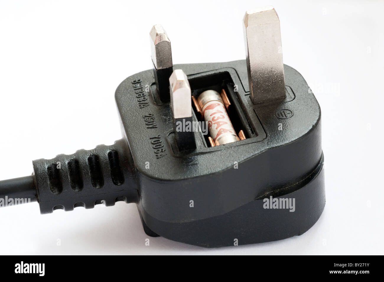 Electrical Plug Fuse on a White Background - Stock Image