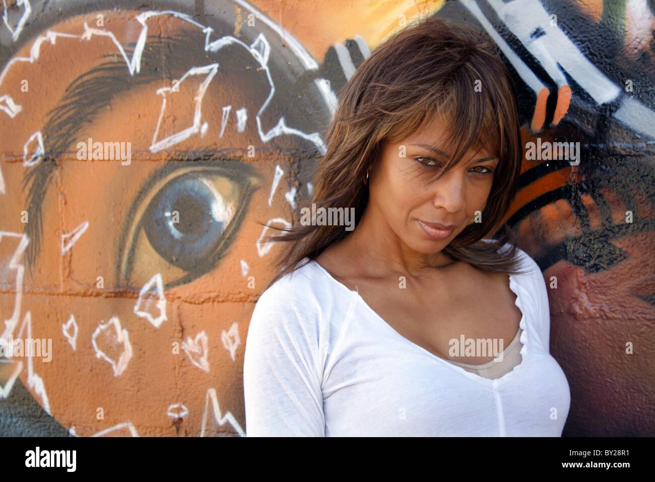 beautiful mature black woman with graffiti (9 stock photo: 33856901