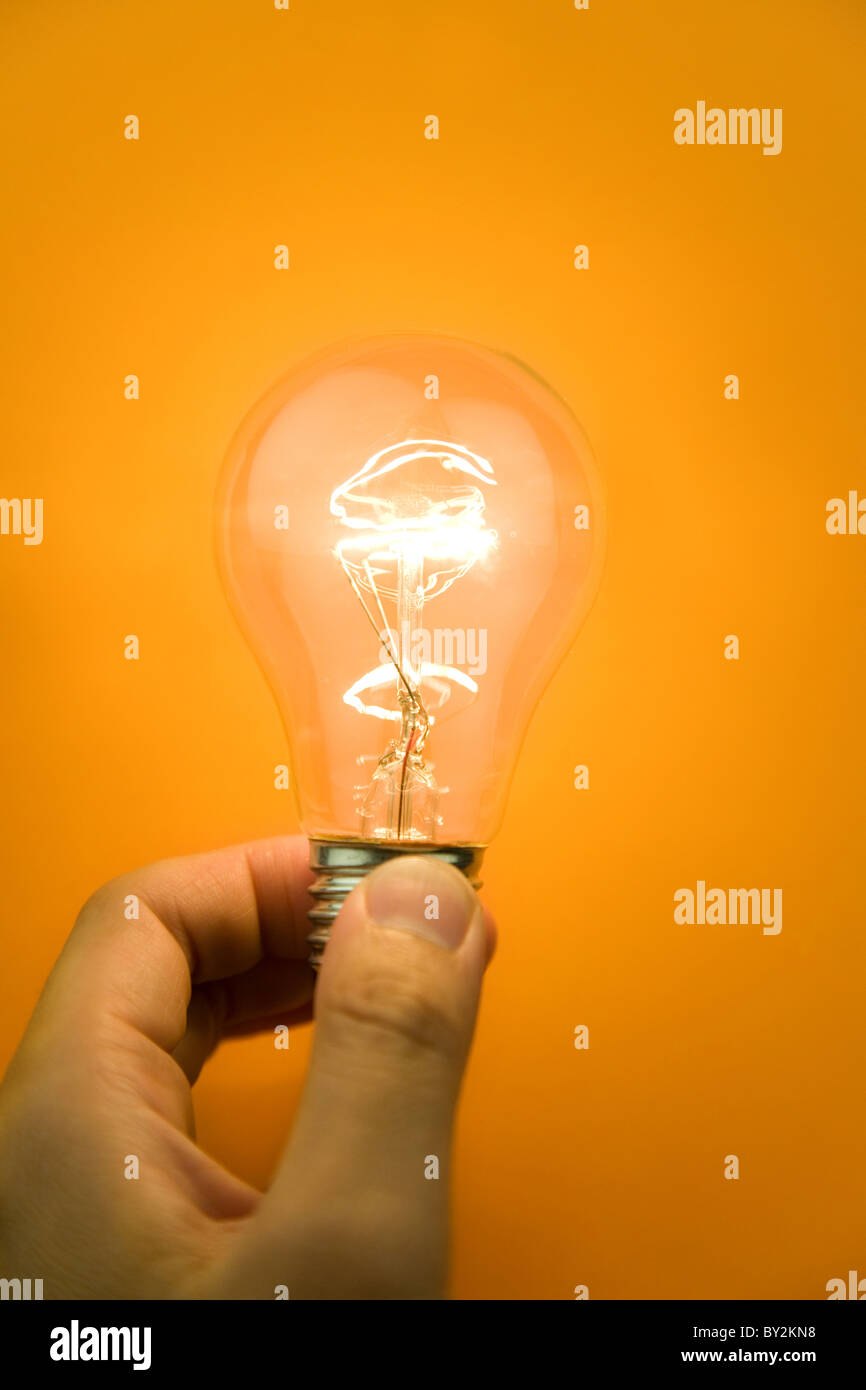 Bright Light Bulb close up shot - Stock Image