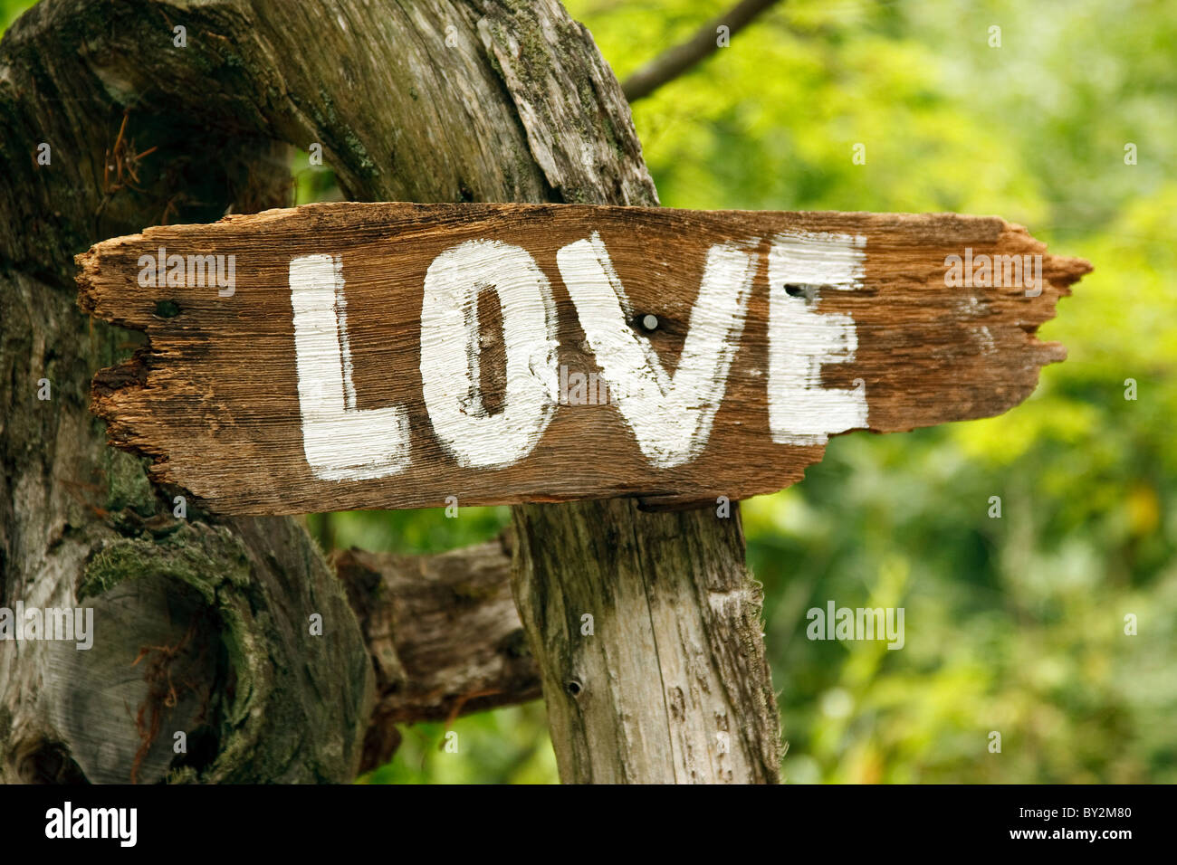 A wood sign with the word Love - Stock Image