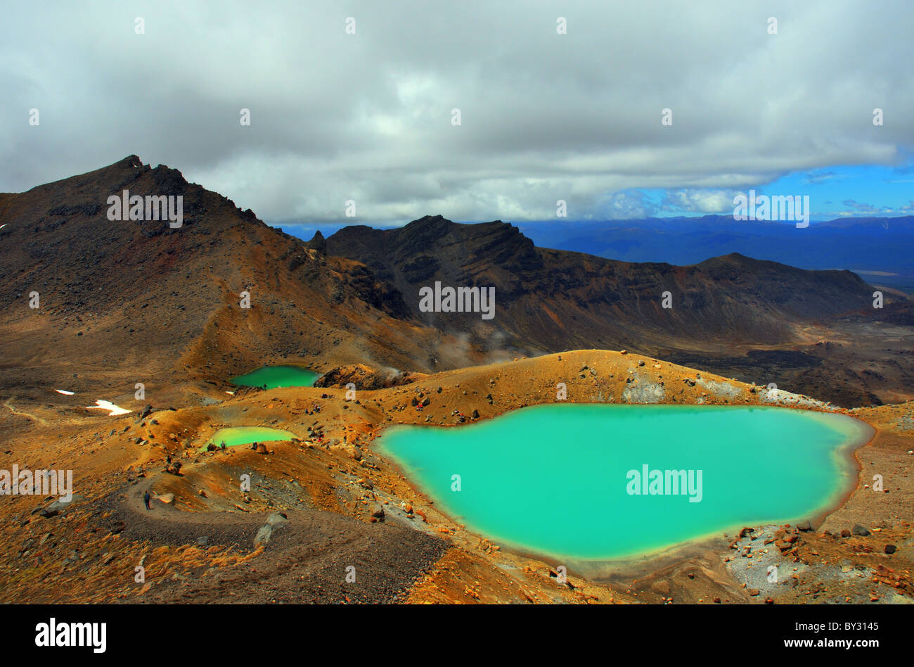 The Emerald Lakes on the Tongariro Alpine Crossing Stock Photo