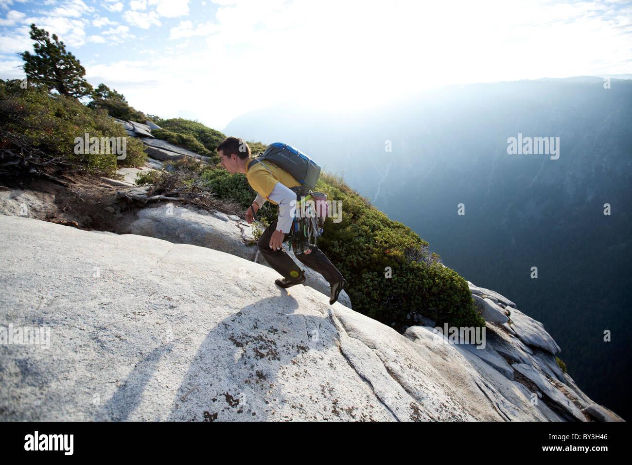 Alex Honnold solos The Nose on El Capitan in Yosemite National Park, California. Stock Photo