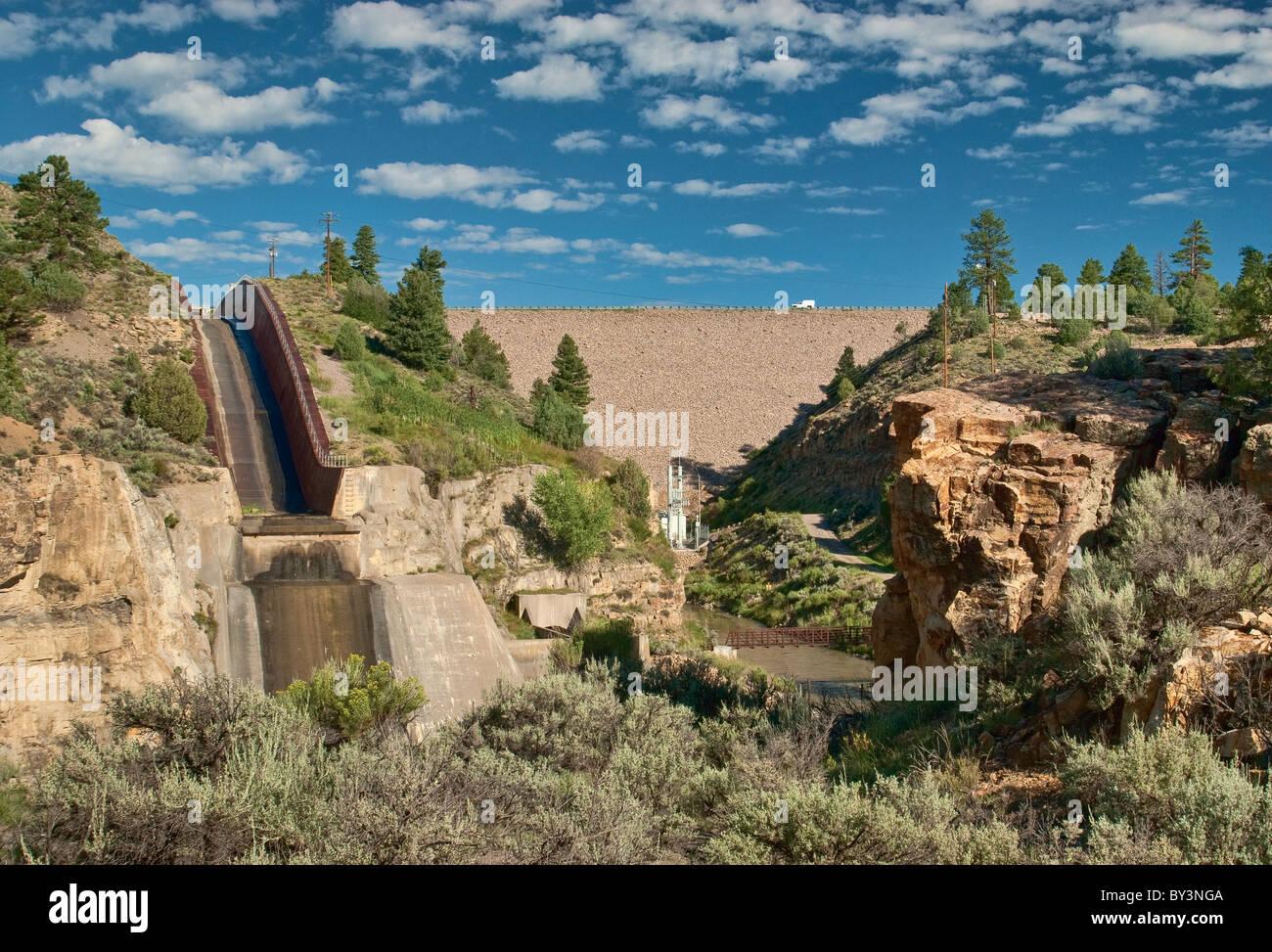 Spillway at El Vado Dam on Rio Chama near Tierra Amarilla, New Mexico, USA Stock Photo