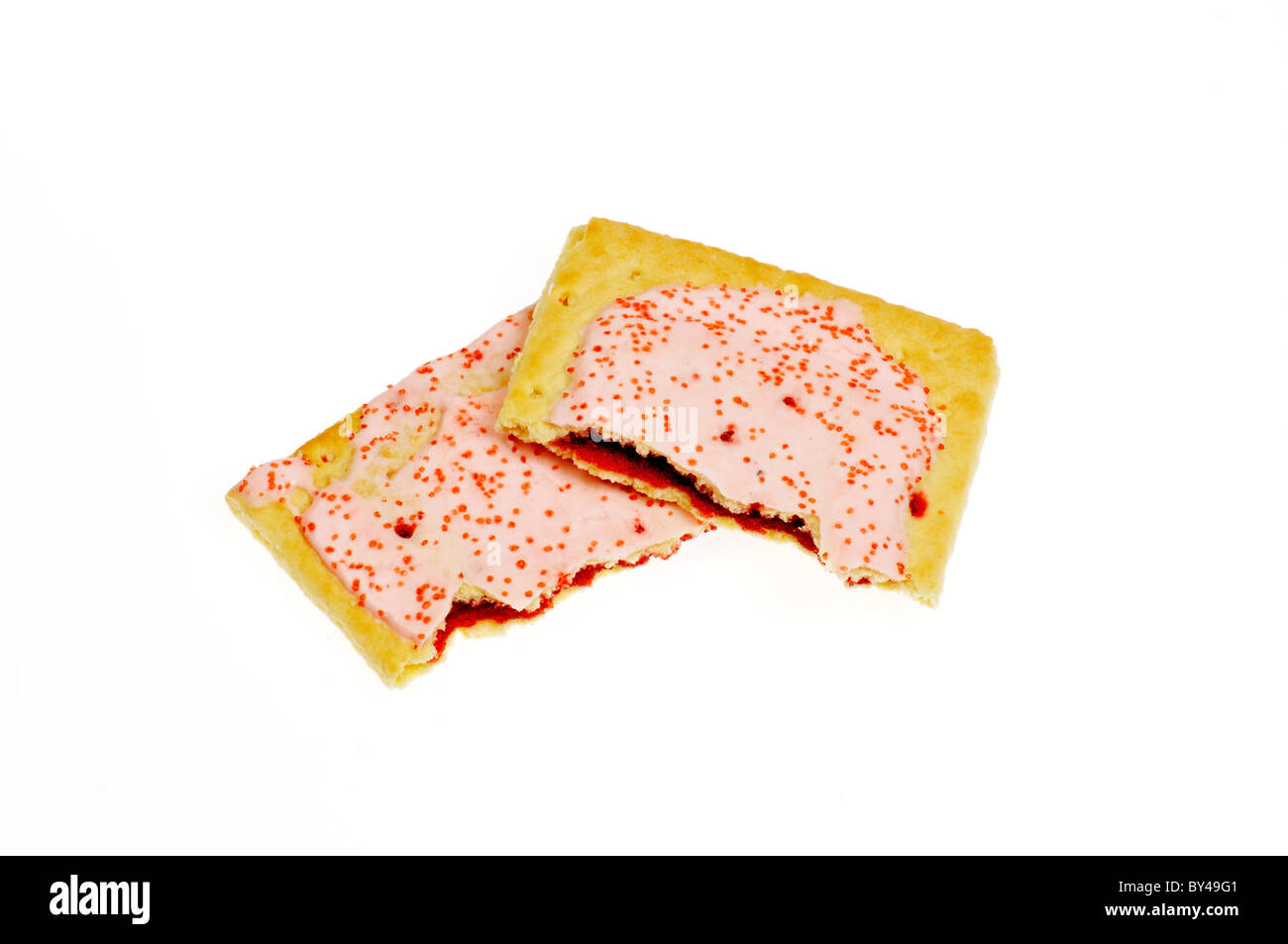Cherry frosted pop-tarts broken in half with cherry filling on white background, cutout. Stock Photo