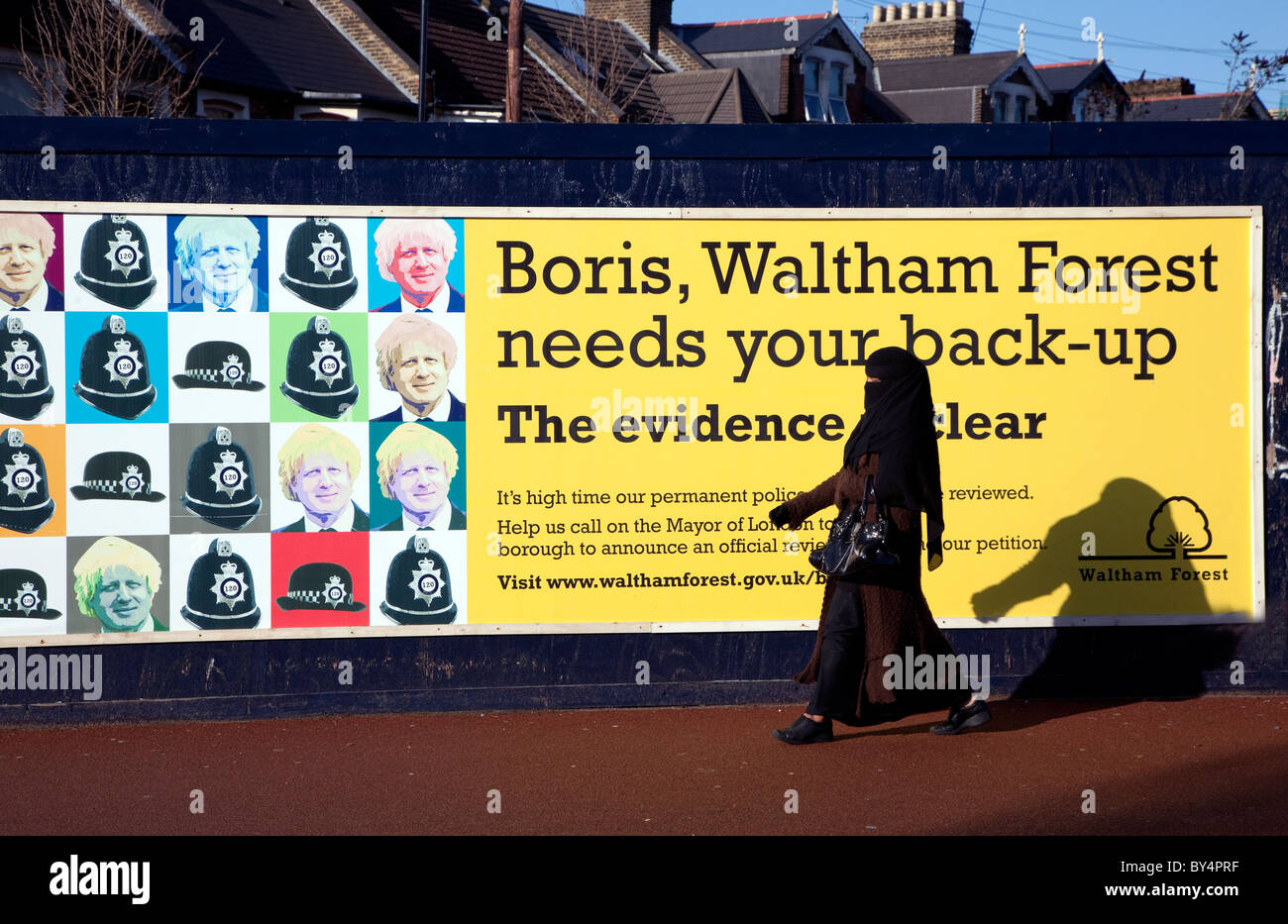 LB Waltham Forest poster about police funding, London - Stock Image