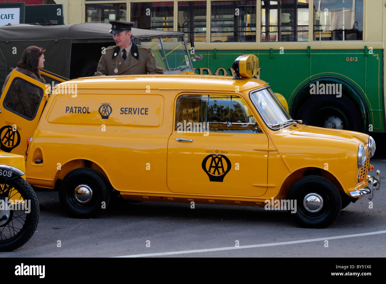 Yellow 1960's AA Patrol Service Mini Van - Stock Image