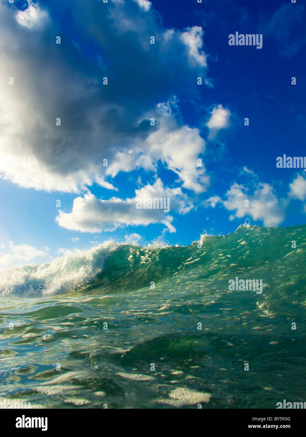 View of the sea with green water and blue, cloudy skies - Stock Image