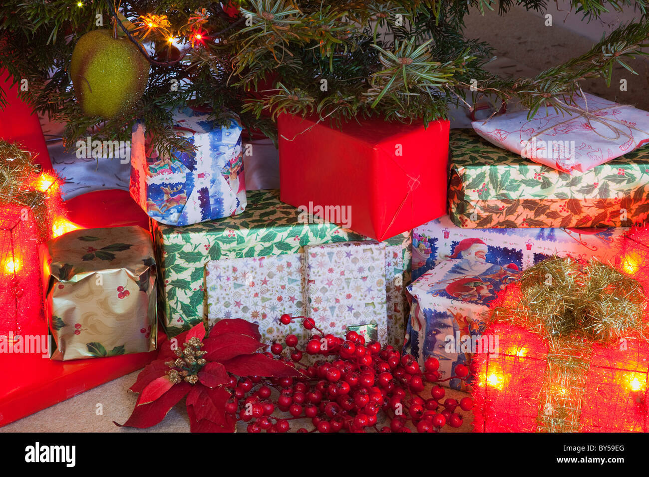festivals religious christmas presents detail of lights and decorations and xmas gifts under a nordman fir tree
