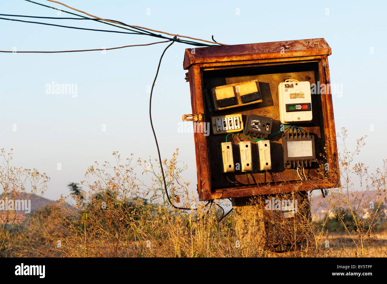 Electrical Fuse Box Rust Free Download Electric Replacement In The Rural Indian Countryside Andhra Pradesh