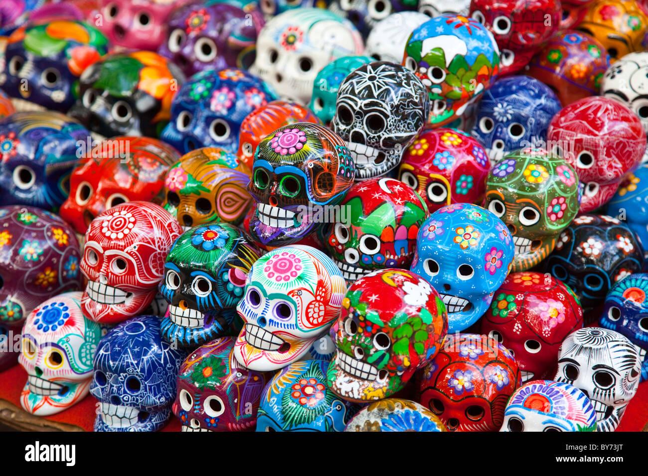 Ceramic souvenirs at Chichen Itza, Mexico - Stock Image