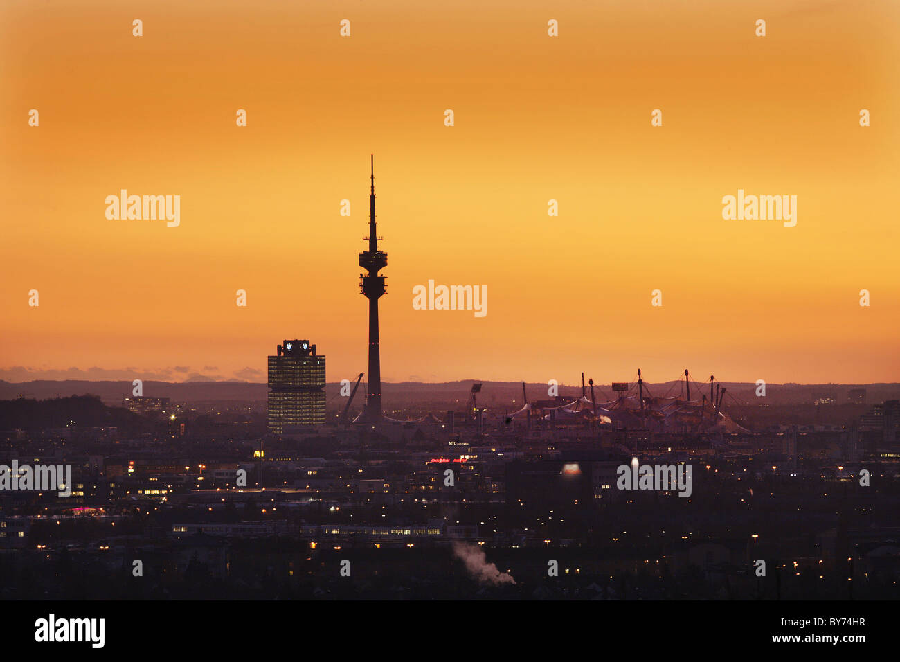 Cityscape with Olympic Park, Munich, Bavaria, Germany - Stock Image