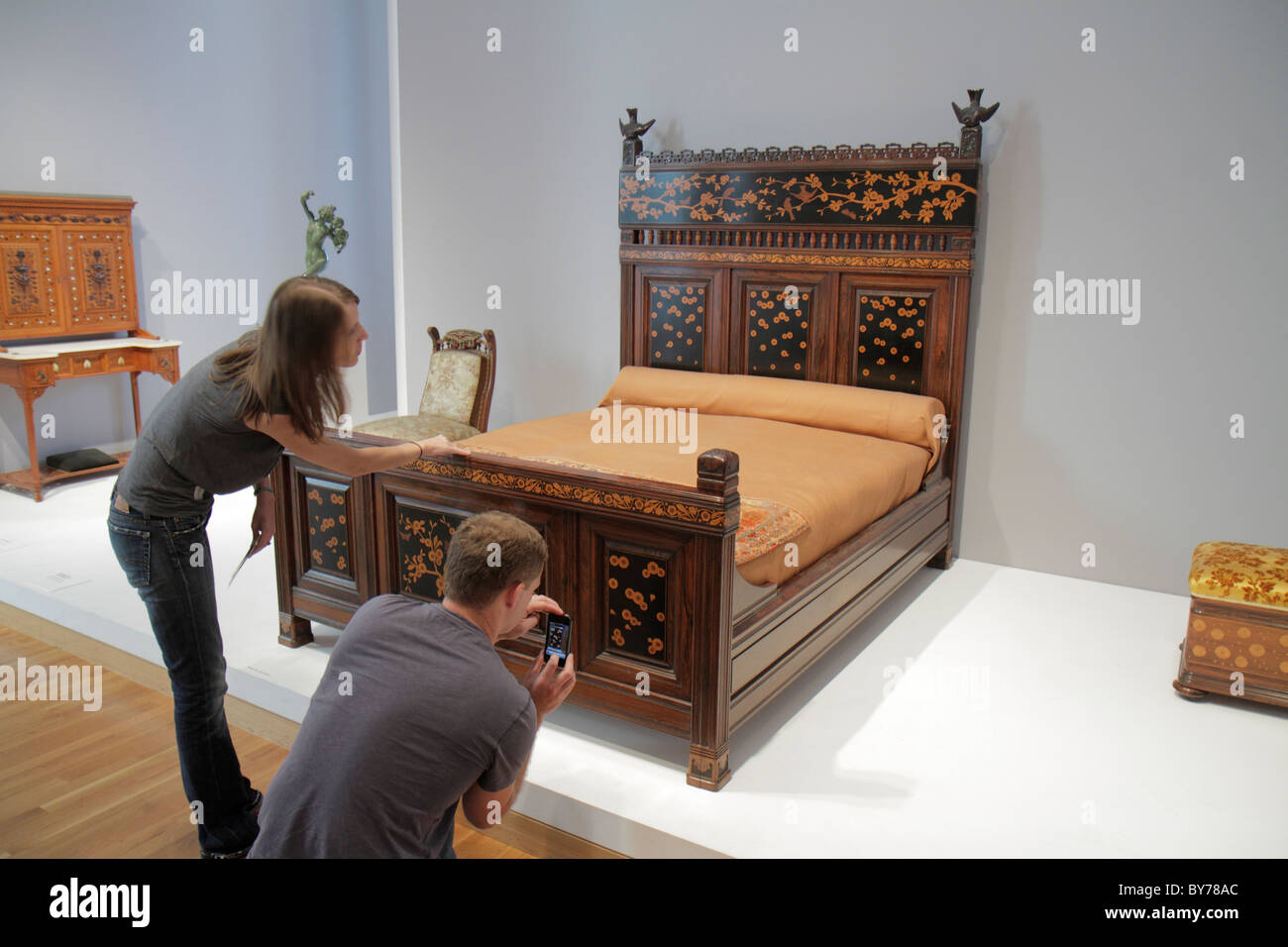 Atlanta Georgia High Museum Of Art Gallery Collection Exhibition Artwork  Furniture Carved Bed Design Man Woman Student Taking Pi