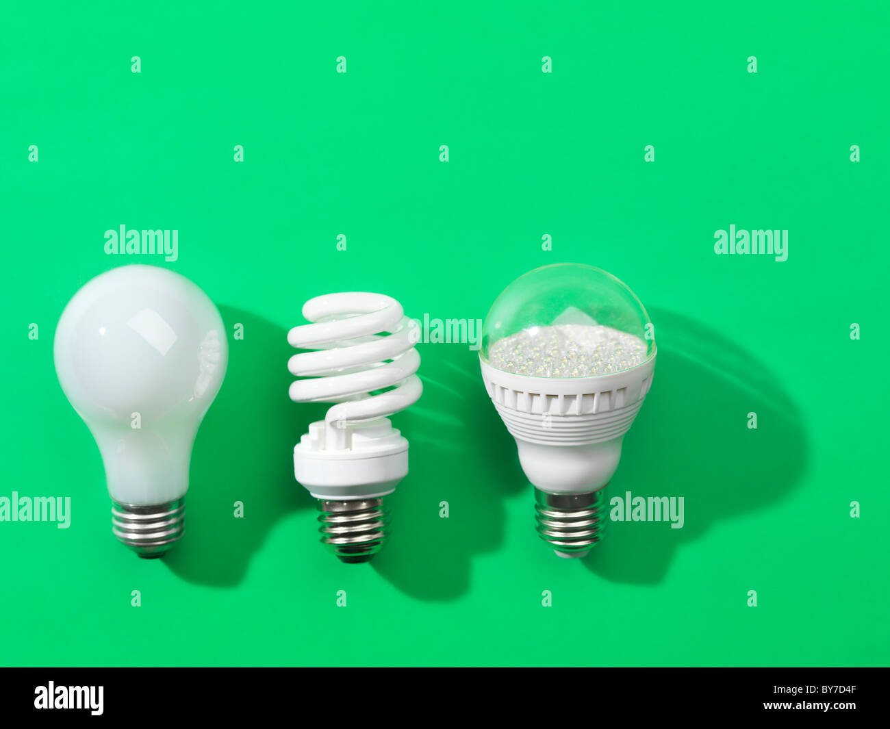 Three generations of light bulbs. Regular incandescent, energy saving fluorescent and LED isolated on green background - Stock Image